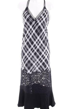 DKNY Maxikleid schwarz-weiß Karomuster Casual-Look