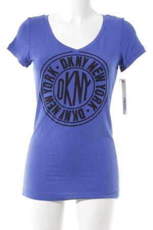 DKNY Print-Shirt blau Schriftzug gedruckt sportlicher Stil