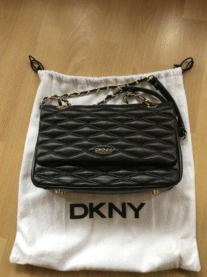 DKNY Schultertasche Black/Gold Gestepptes Lammleder
