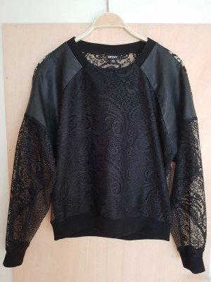 DKNY Schwarze Bluse Sweater mit Spitze und echt Ledereinsatz