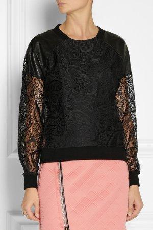 DKNY Schwarze Bluse Sweater mit Spitze und Ledereinsatz