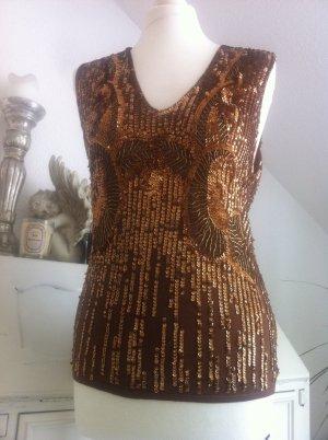 DKNY Seide Pailletten Top Shirt M 38 Bronze