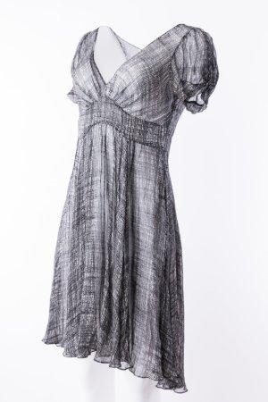 DKNY - Seidenkleid Kurzarm transparent Schwarz-Weiß