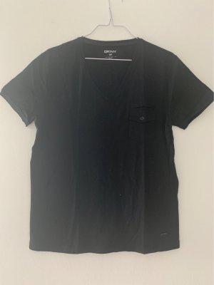 DKNY T-shirt col en V noir