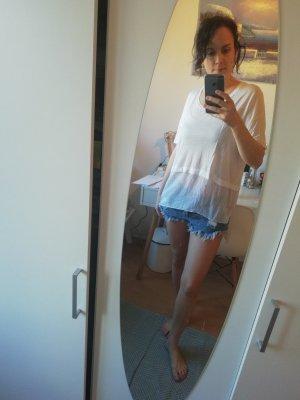 DKNY Shirt Seide Materialmix Sommer Bluse Blusenshirt