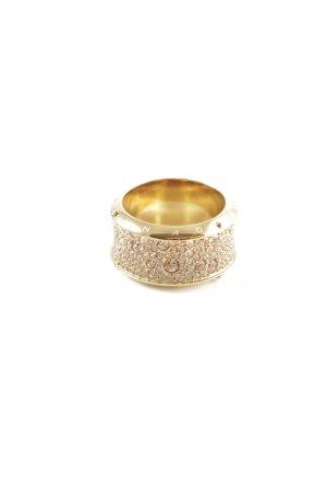 DKNY Bague incrustée de pierres doré style décontracté