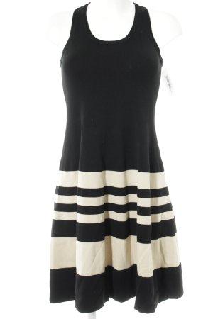 DKNY Stretchkleid schwarz-creme Ringelmuster Casual-Look