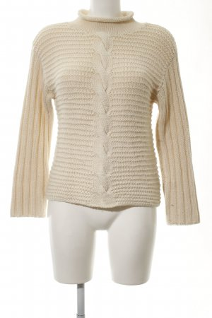 DKNY Strickpullover creme Zopfmuster Casual-Look