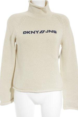 DKNY Strickpullover creme Schriftzug gestickt Casual-Look