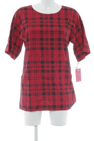 DKNY T-Shirt schwarz-dunkelrot Karomuster Casual-Look