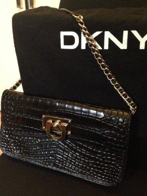 DKNY Tasche schwarz in Krokooptik