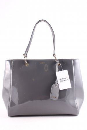 "DKNY Tote ""Tote Patent Leather/Buttercalf Trim Dark Charcoal"" grau"