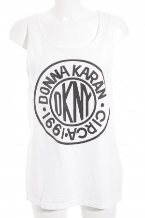 DKNY Trägertop weiß-schwarz Schriftzug gedruckt Street-Fashion-Look
