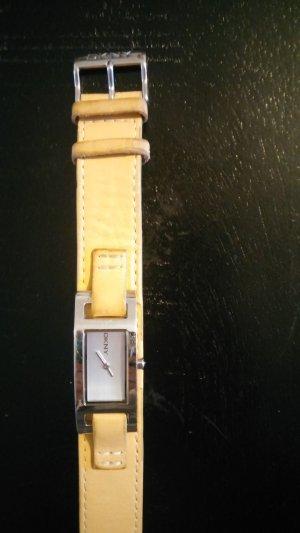 DKNY Uhr mit Lederarmband beige