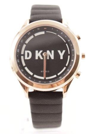 DKNY Uhr mit Lederarmband schwarz Elegant