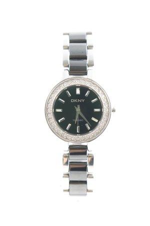 DKNY Horloge met metalen riempje zwart-grijs straat-mode uitstraling