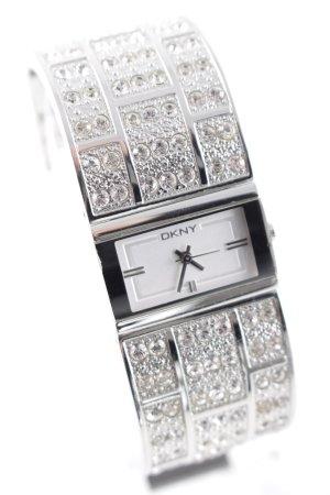 DKNY Uhr mit Metallband silberfarben Glitzer-Optik