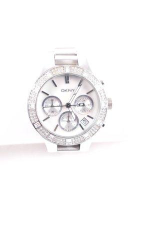 DKNY Orologio con cinturino di metallo argento-bianco con glitter
