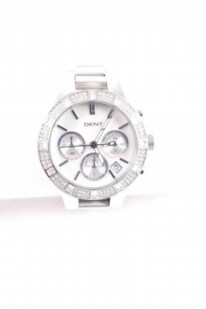 DKNY Uhr mit Metallband silberfarben-weiß Glitzer-Optik