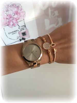 DKNY Reloj con pulsera metálica color bronce-color rosa dorado