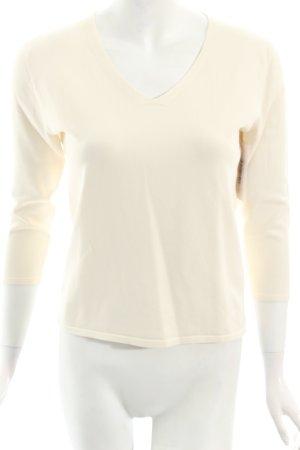 DKNY V-Ausschnitt-Pullover hellbeige schlichter Stil