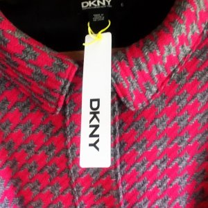 DKNY  Wolle ,Herbst,Winter, Jacke,Mantel Jacket-Gr. DE 36  Pink & Grau 100%Wolle