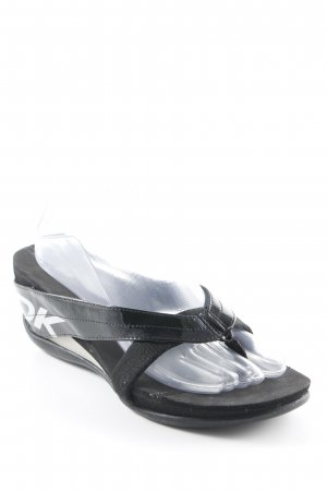 DKNY High-Heeled Toe-Post Sandals black printed lettering casual look