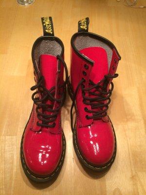 Doc Martens Schuhe, Gr.37, rot lack glänzend, gelbe Naht, AirWair LETZTER PREIS