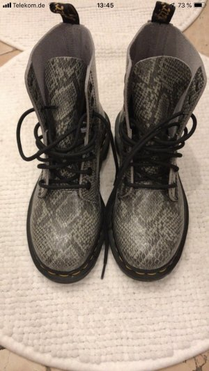 Combat Boots silver-colored-black imitation leather
