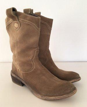 Docker's Stiefel Wildleder Taupe Beige 37 Leder Stiefeletten Ankle Boots Biker Schuhe