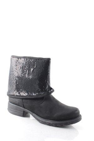 Dockers Reißverschluss-Stiefeletten schwarz Glitzer-Optik