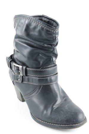 Dockers Reißverschluss-Stiefeletten schwarz-hellbraun Country-Look