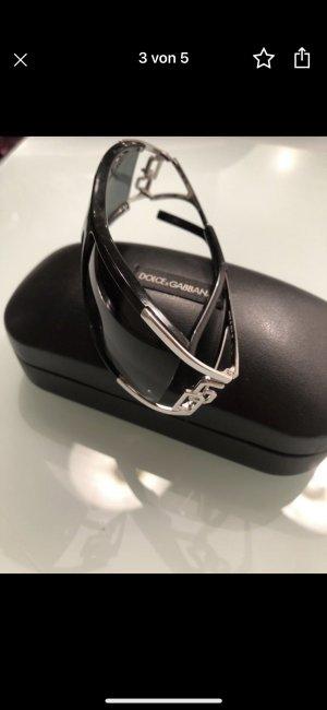 Dolce & Gabbana Ovale zonnebril zwart-zilver