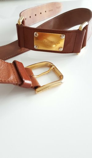 Dolce & Gabbana Belt brown-gold-colored leather