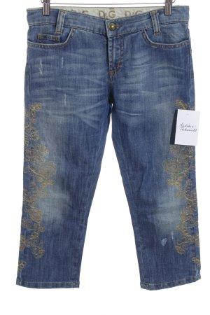 Dolce & Gabbana 3/4 Jeans graublau-goldorange Blumenmuster Glitzer-Optik