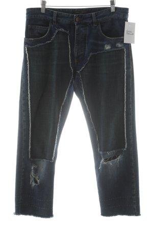 Dolce & Gabbana 7/8 Jeans stahlblau-flieder Blumenmuster extravaganter Stil