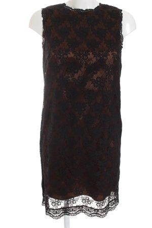 Dolce & Gabbana Vestido de noche negro-color bronce estampado floral elegante