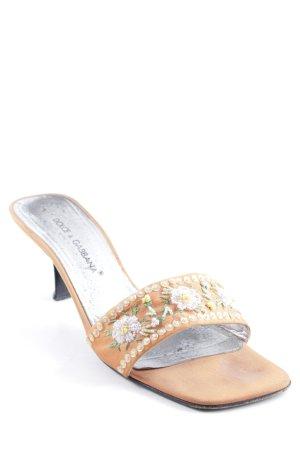 Dolce & Gabbana Zomerschoenen met hak oranje bloemen patroon casual uitstraling