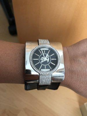 Dolce & Gabbana Horloge met lederen riempje zwart-zilver