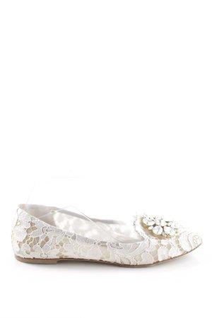 Dolce & Gabbana Ballerinas mit Spitze creme-weiß Blumenmuster Elegant