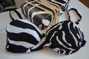 Dolce&Gabbana BH balconnet zebra 70C 32C schwarz weiß animal bra push up D&G NEU