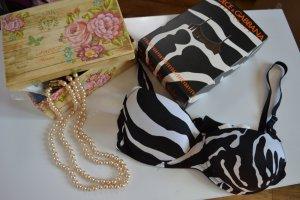 Dolce&Gabbana BH balconnet zebra 70D 32D schwarz weiß animal bra push up D&G NEU