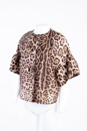 DOLCE & GABBANA - Blazer im Babydoll-Look mit Leopardenprint Beige NEU