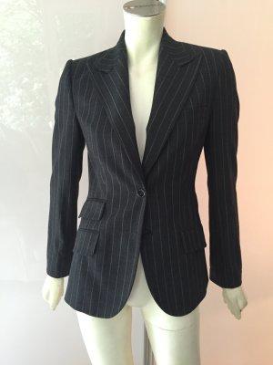 Dolce&Gabbana Blazer Jacke XS Schwarz Grau Nadelstreifen Stretch Wolle Leo w Neu