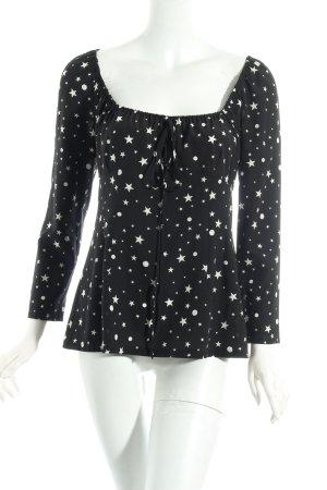 Dolce & Gabbana Bluse schwarz-weiß Sternenmuster Casual-Look