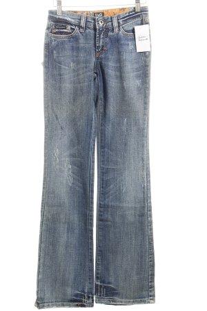Dolce & Gabbana Boot Cut Jeans dunkelblau Used-Optik