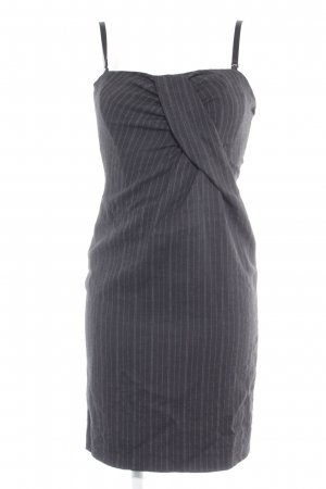 Dolce & Gabbana Corsage Dress anthracite-white striped pattern business style