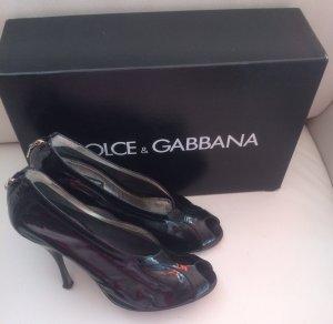 Dolce & Gabbana D&G High Heel Peeptoes Pumps Stiletto schwarz Lackleder 39