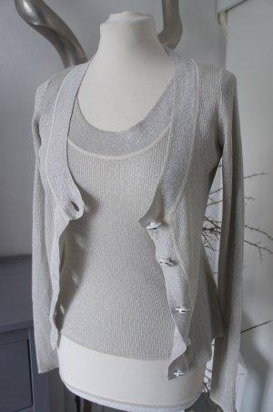 Dolce & Gabbana D&G Twinset Größe S 34 36 Silber glänzend