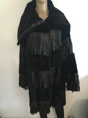 Dolce & Gabbana Echt Fell Mantel Schwarz Fransen Gr. 36